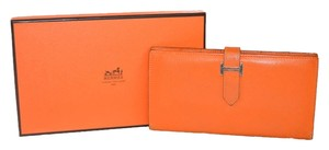 Hermes Authentic Hermes Orange Leather Bearn Wallet