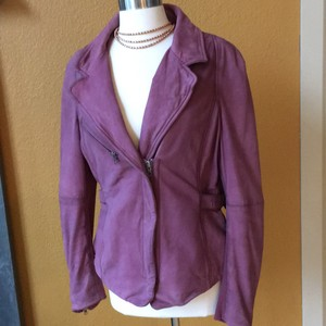 Muubaa Washed leather Merlot Leather Jacket