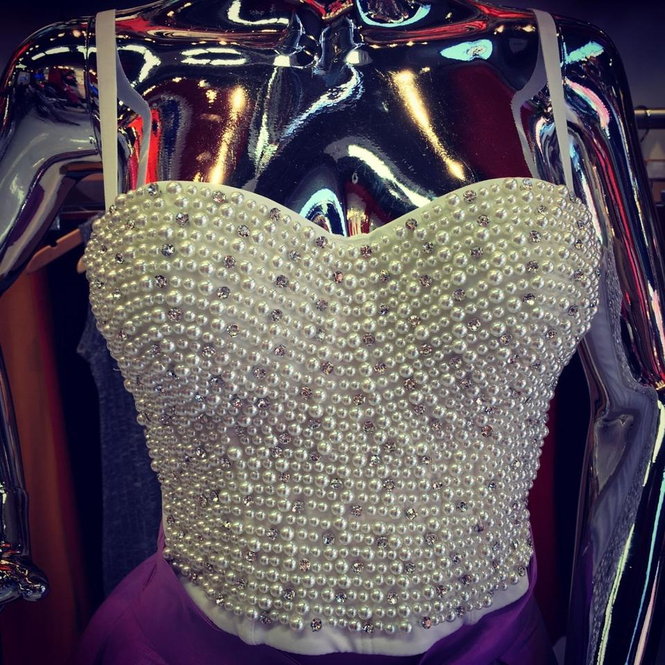 168b53326fb2b Bling Bustier Plus Size Pearl White Top - Tradesy