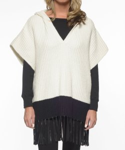 Elizabeth and James Leather Fringe Knit Hooded Cape