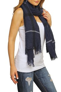 Other Navy Plaid Knit Scarf
