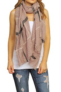 Other Beige Plaid Knit Scarf