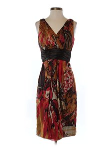 Badgley Mischka Silk Artsy Print V-neck Dress