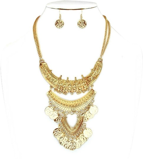 Other Russian Gold Boho Tribal Dangle Charm Necklace Bib Collar Pendant and Earring Set