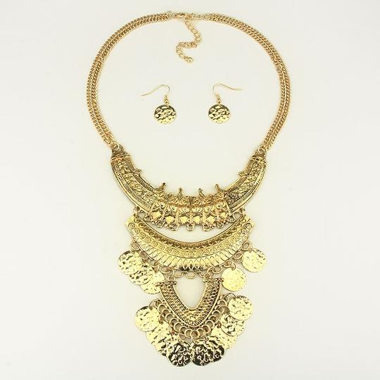 Other Russian Gold Boho Tribal Dangle Charm Necklace Bib Collar Pendant and Earring Set Image 1