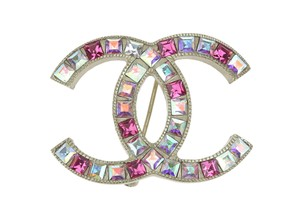 Chanel 06P Pink Crystals Soft Gold CC Brooch
