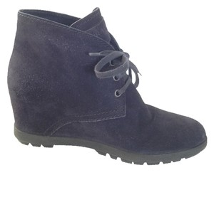 Prada Ankle Desert Barneys Wedge Hidden Wedge Skinny Sport Linea Rossa Suede Leather Navy Boots