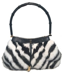 Gucci Mink Fur Satchel in black and white