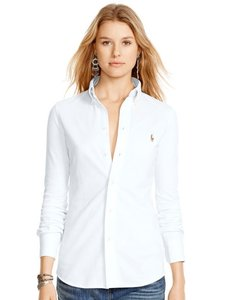 Polo Ralph Lauren #ralphlauren #polo #oxford Shirt #cotton Pique Button Down Shirt white