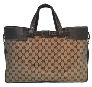 Gucci Monogram Travel Work Monogram Tote in brown