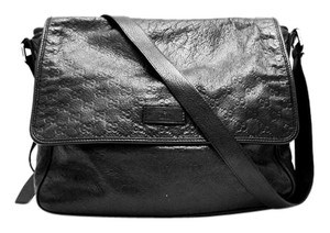 Gucci Monogram Leather Black Messenger Bag