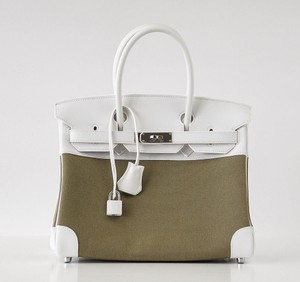 Herms Hermes 30 Birkin Tote in White & Olive Toile