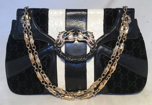 Gucci Dragon Tom Ford Satchel in black and white