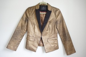 Zara Metallic Glam Black and Gold Blazer