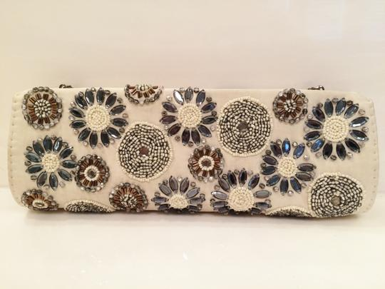 Marco Santi Silk Beading Excellent Condition Ivory Clutch