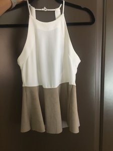 Zara white, tan, beige, nude Halter Top