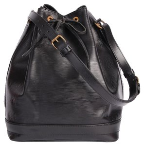 Louis Vuitton Noe Canvas Leather Tote in Black