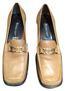 Etienne Aigner Leather Gold Buckle Detail British Tan Flats