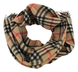 Burberry #8830 beige check pattern Logo 100% Cashmere Scarf