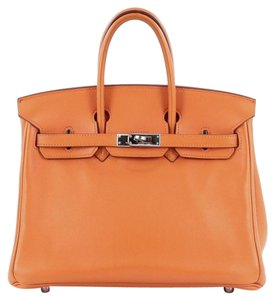 Herms Hermes Leather Tote in Orange