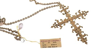 Bergdorf Goodman Bergdorf Goodman Bronze 'Cross' Necklace w/Multi Color Topaz
