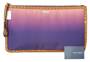 Rebecca Minkoff Leather Studded Large Purple/Pink/Camel Clutch