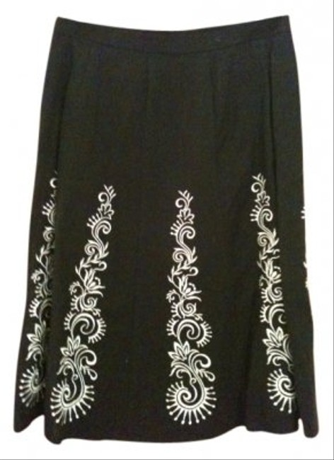 Ann Taylor LOFT Skirt Black with white embroidery