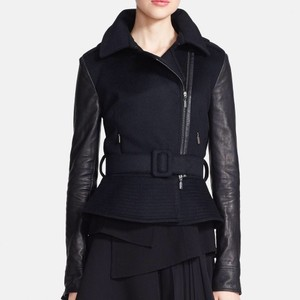 Oscar de la Renta Leather Peplum Motorcycle Black Jacket