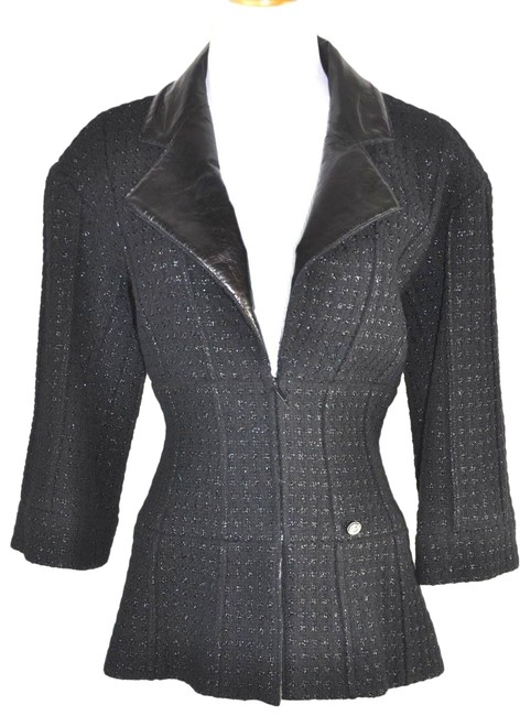 Preload https://img-static.tradesy.com/item/19711088/chanel-black-supermarket-runway-collection-tweed-blazer-size-8-m-0-2-650-650.jpg