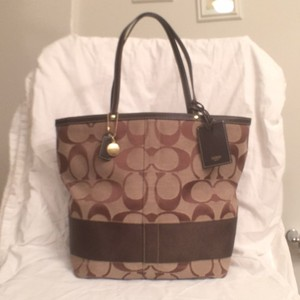 Coach Canvas Leather Tote in Brown Tan