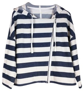 Ann Taylor LOFT Striped Asymmetrical Hooded blue, beige Jacket