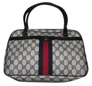 99cd5e67764416 Gucci Style Accessory Col Exterior Pockets Mint Vintage Navy/Red Stripes  Satchel in shades of