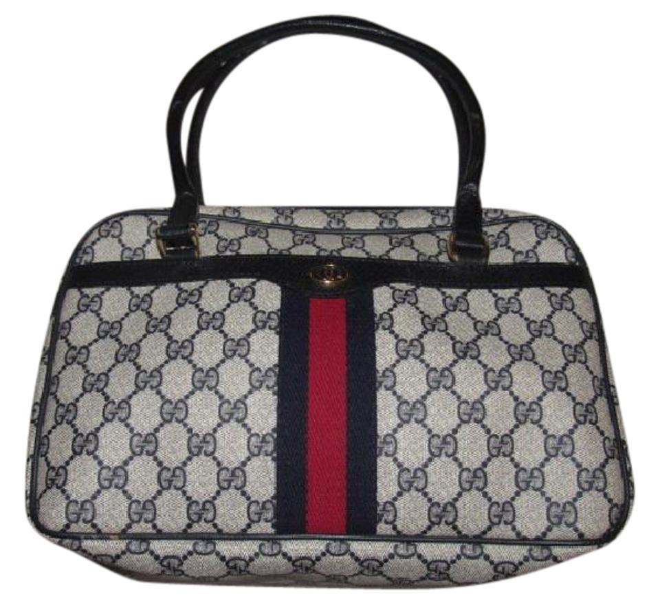 3b43b5680 Gucci Style Accessory Col Exterior Pockets Mint Vintage Navy/Red Stripes  Satchel in shades of ...