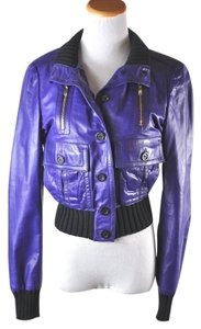 Gucci Madonna Leather Bomber Size 40 Purple Leather Jacket