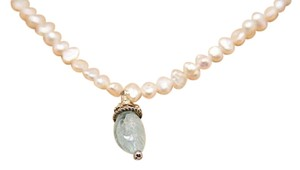 Fresh Water Pearl Necklace w/Aventurine + Silver Pendent