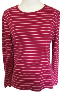 Croft & Barrow Stripe Longsleeve Crew Neck T Shirt pink and white