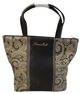 Noneillah Paisley Print Leather Nylon Classic Black Golden Clutch