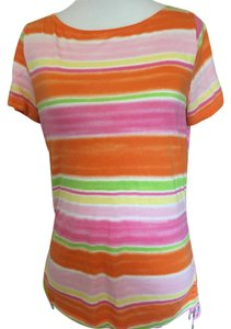 Chaps Stripe Crew Neck Short Sleeve Color T Shirt multi