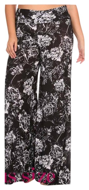 Black And White New Floral Palazzo 1x 2x 3x Wide Leg Pants Size 20