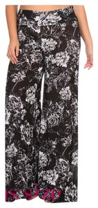 Plus Size Wide Leg Flare Wide Leg Pants Black and White