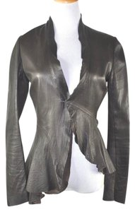 Rick Owens Asymmetrical Leather Brown Leather Jacket