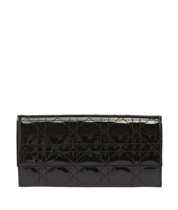Dior Christian Dior Black Quilted Cannage Patent Leather Wallet (102452)