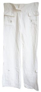 United Colors of Benetton Linen Drawstring Linen Wide Leg Pants White