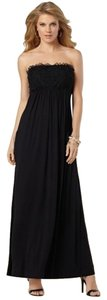 Black Maxi Dress by Soma Intimates Floral Applique Maxi Strapless Halter