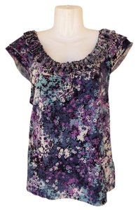 Elle Floral Capped Sleeve Colorful Ruffle Top purple, blue, white