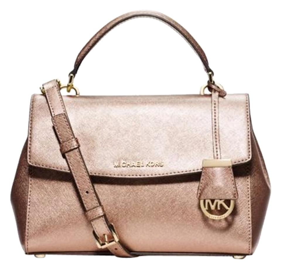2cf1929ce Michael Kors Ava Small Top Handle Pale Gold Leather Satchel - Tradesy