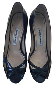 Manolo Blahnik Peep Toe Navy Patent Leather Pumps