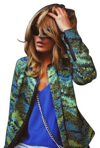 Zara Tweed Faux Leather Green and Blue Multi Blazer