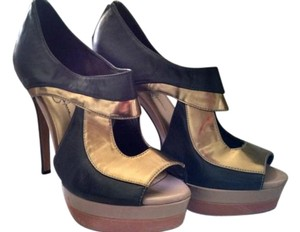 Jessica Simpson Piano Heels Black Gold Pumps