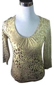 Chico's Casual Stretchy Abstract 3/4 Sleeve Print Top Brown and Beige